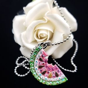Cookie Lee Jewelry - Watermelon Necklace Bling Chrystals Summer Beach